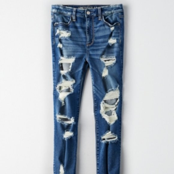 AE Denim x Super High-Waisted Jegging Ripped Jeans